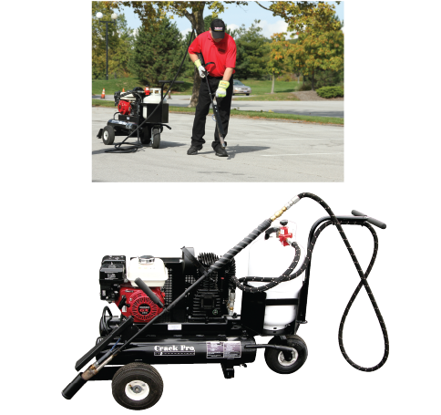 Heat Lance for Asphalt Crack Cleaning. Hot Air Lance for Cleaning Cracks in Asphalt Pavement. CrackPro Turbo. SealMaster