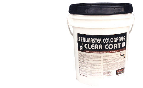 Clear Top Coat for imprinted and textured asphalt. Clear Drying Acrylic Top Coat for Colored Pavement Sealers. ColorPave Clear Coat. SealMaster.