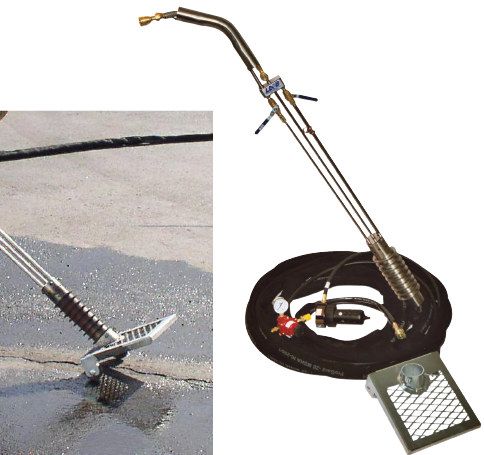 Heat Lance for cleaning and drying cracks in pavement. Hot air lance for crack cleaning. High velocity heat lance