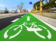 Safe Ride Bicycle Lane Green Coating