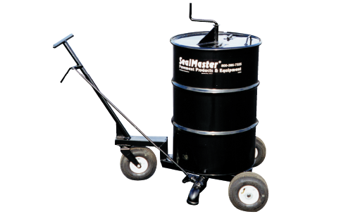 Sealer Wheeler. Portable sealcoat mixing and dispensing unit. 55-gallon sealer drum mixer on wheels